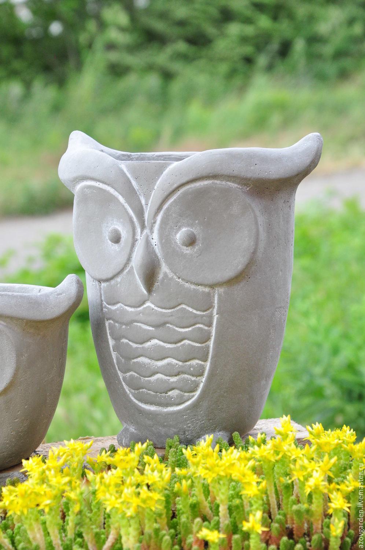 Flower pot is a large Owl of concrete creative for plants, Pots1, Azov,  Фото №1