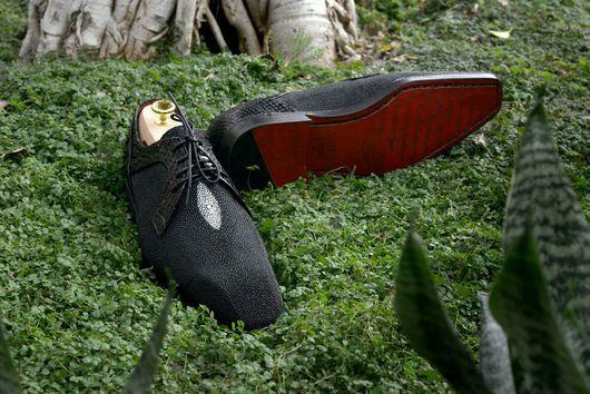 """Обувь ручной работы. Ярмарка Мастеров - ручная работа. Купить Чёрный """"Жемчуг"""". Handmade. Морской скат, натуральная кожа"""