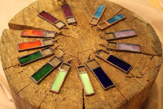 Серьги ручной работы. Ярмарка Мастеров - ручная работа. Купить Серьги витражные, широкие. Разные цвета. Handmade. Серьги, красный