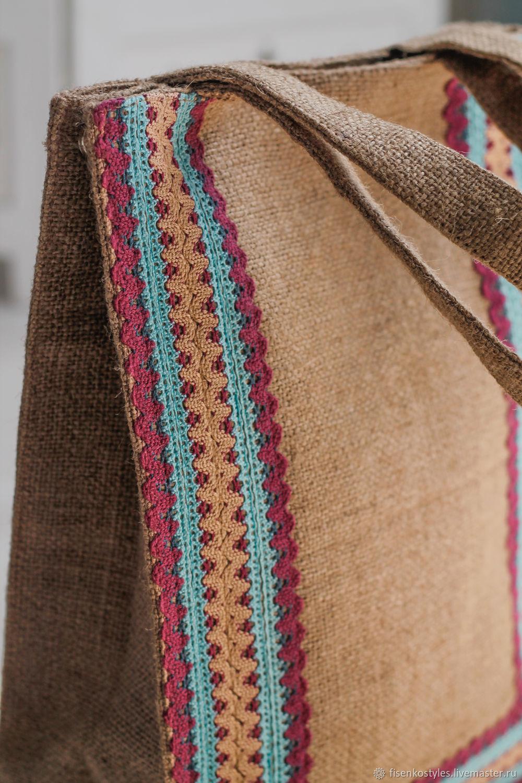 Эко-сумка из джутовой ткани с кружевами_Fisenko brand