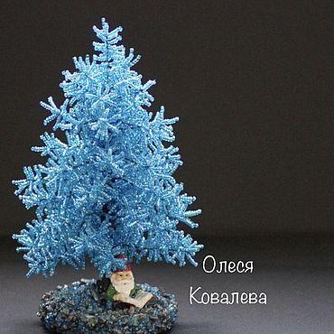 Цветы и флористика ручной работы. Ярмарка Мастеров - ручная работа Голубая ёлочка из бисера. Handmade.