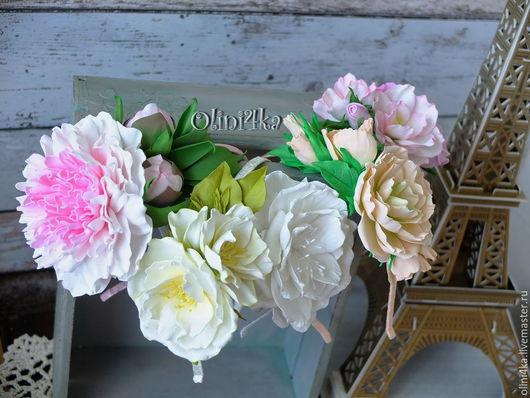 """Диадемы, обручи ручной работы. Ярмарка Мастеров - ручная работа. Купить Обручи """"Цветочный сад"""". Handmade. Фоамиран, цветы из фоамирана"""