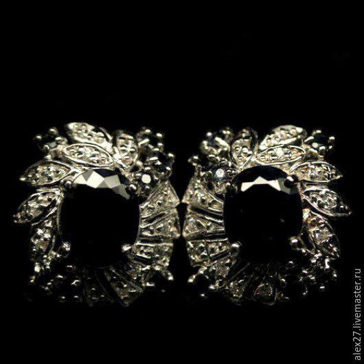 Серьги сапфир серебро 925