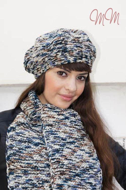 Связать берет с шарфом