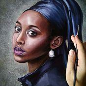 Картины и панно handmade. Livemaster - original item Oil painting Girl with pearl earring. Handmade.