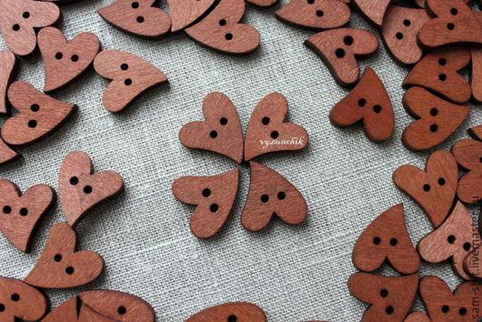 Шитье ручной работы. Ярмарка Мастеров - ручная работа. Купить Пуговицы деревянные сердечки. Handmade. Коричневый, пуговицы декоративные