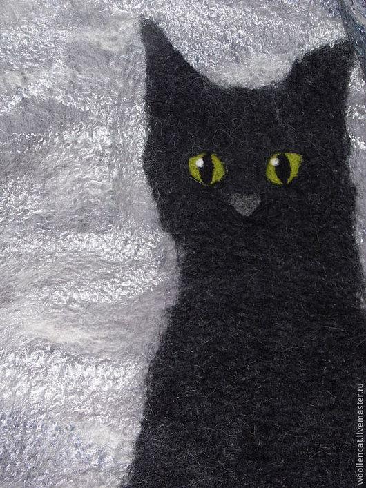 """Жилеты ручной работы. Ярмарка Мастеров - ручная работа. Купить Котожилет """"Черный Кот и Серый день"""".. Handmade. Черный, котошарф"""