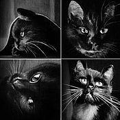 Картины и панно ручной работы. Ярмарка Мастеров - ручная работа Под одеялом в полумраке мурчанье сонного кота (10 х 10 см). Handmade.