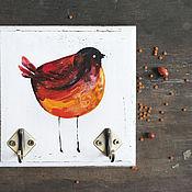 Для дома и интерьера ручной работы. Ярмарка Мастеров - ручная работа Вешалка-ключница Оранжево-красная птичка. Handmade.