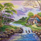 """Картины ручной работы. Ярмарка Мастеров - ручная работа Картина пейзаж """"Домик у быстрой реки"""". Handmade."""