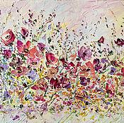 Разноцветная яркая картина с цветами маслом полевые цветы аромат лугов