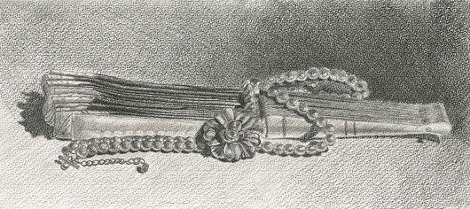 """Натюрморт ручной работы. Ярмарка Мастеров - ручная работа. Купить """"Сложенный веер с бусами"""". Handmade."""