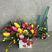Композиции ручной работы. Ярмарка Мастеров - ручная работа Интерьерная композиция «Тюльпаны»,цветы в коробке,букет с тюльпанами. Handmade.