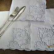 Винтаж ручной работы. Ярмарка Мастеров - ручная работа Винтаж: Набор винтажных салфеток лен  3 шт. Handmade.