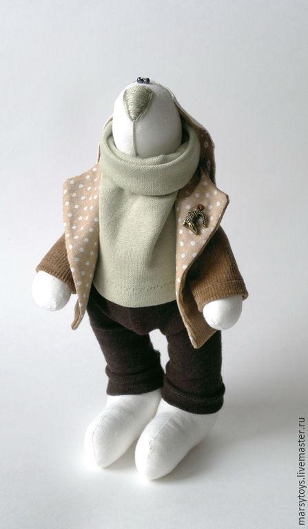 Игрушки животные, ручной работы. Ярмарка Мастеров - ручная работа. Купить Текстильная игрушка Заяц Гриша. Handmade. Бежевый, мулине