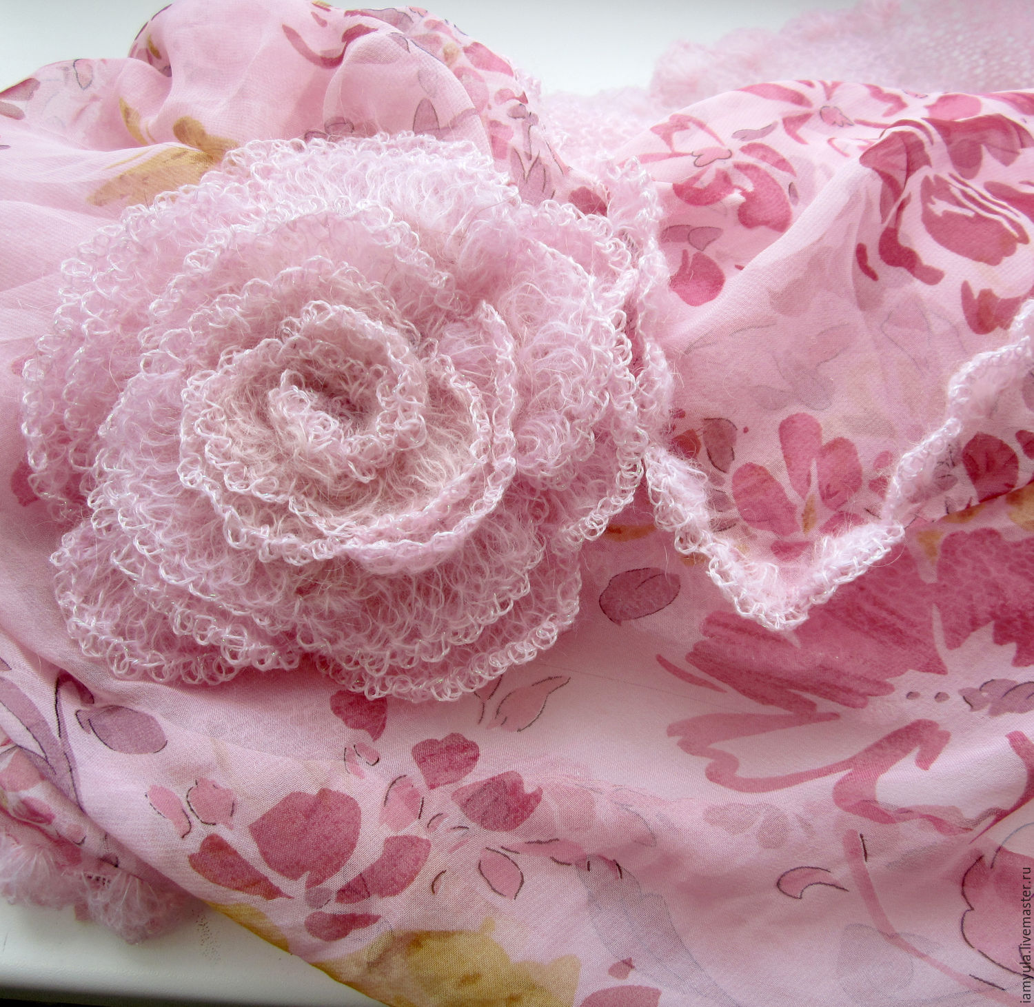 'Tenderness' -scarf-Snood is made of chiffon, kid-mohair and brooch-rose, Scarves, Naberezhnye Chelny,  Фото №1