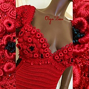 "Одежда ручной работы. Ярмарка Мастеров - ручная работа Вязаное платье ""The lady in red"" от Olga Lace. Handmade."