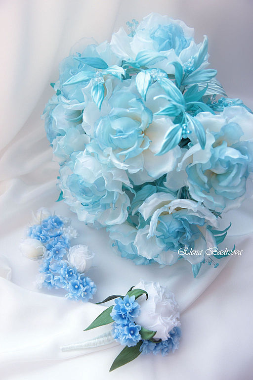 """Свадебные украшения ручной работы. Ярмарка Мастеров - ручная работа. Купить Комплект """"Зимняя невеста"""". Handmade. Голубой, украшение для волос"""