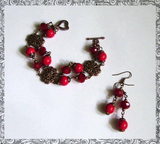 Комплект ручной работы из бусин коралла и граненого стекла насыщенного красного цвета. by Inna (inspiration-nsk)