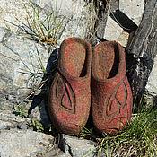 """Обувь ручной работы. Ярмарка Мастеров - ручная работа Валяные тапочки """"Терракота"""". Handmade."""