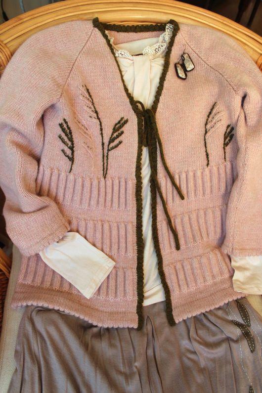 """Кофты и свитера ручной работы. Ярмарка Мастеров - ручная работа. Купить Кардиган """"Тропа Тростника"""". Handmade. Бледно-розовый"""