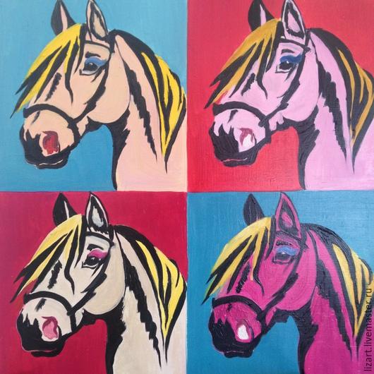 Животные ручной работы. Ярмарка Мастеров - ручная работа. Купить Голова лошади в стиле Мерилин от Уорхола. Handmade. Разноцветный