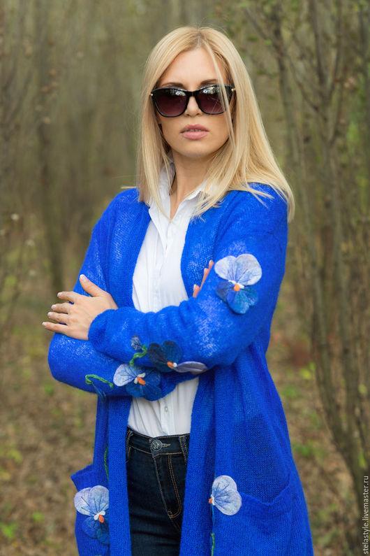 Кофты и свитера ручной работы. Ярмарка Мастеров - ручная работа. Купить Bleu claire.... Handmade. Синий, цветы ручной работы