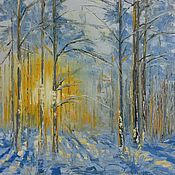 Картины и панно ручной работы. Ярмарка Мастеров - ручная работа Зимнее утро в лесу. Handmade.