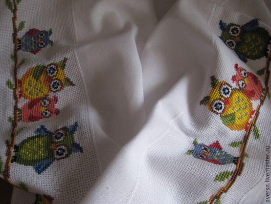 """Текстиль, ковры ручной работы. Ярмарка Мастеров - ручная работа. Купить Вышитая крестом скатерть """"Совы"""". Handmade. Белый"""
