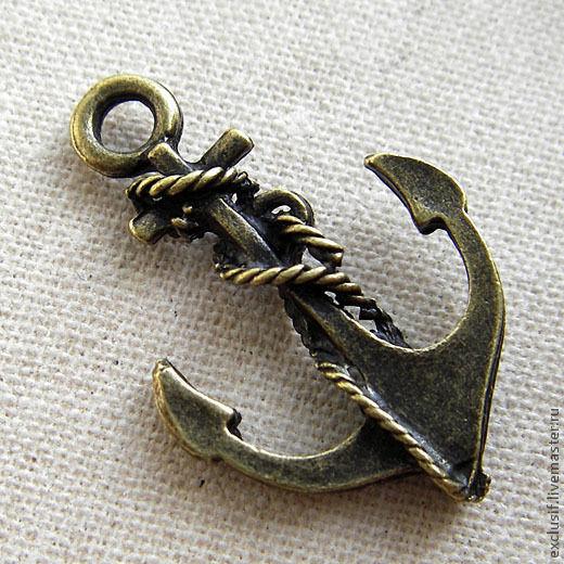 Для украшений ручной работы. Ярмарка Мастеров - ручная работа. Купить Подвеска якорь 2,5х1,8 см античная бронза. Handmade.