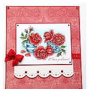Открытки ручной работы. Ярмарка Мастеров - ручная работа Открытка с красными розами к дню рождения. Handmade.
