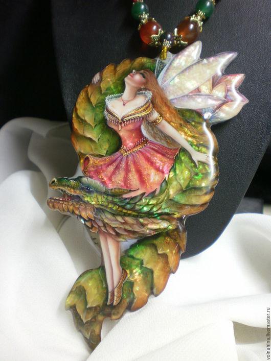 """Кулоны, подвески ручной работы. Ярмарка Мастеров - ручная работа. Купить Колье """"Эльфийский дракон """". Handmade. Многоцветный, миниатюра"""
