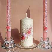 """Свадебный салон ручной работы. Ярмарка Мастеров - ручная работа Свадебные свечи """"Розы"""". Handmade."""