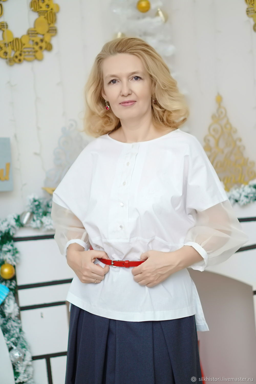 fc9a35fd38c Blouses handmade. Livemaster - handmade. Buy Blouse white cotton sleeveless  silk organza blouse Light ...