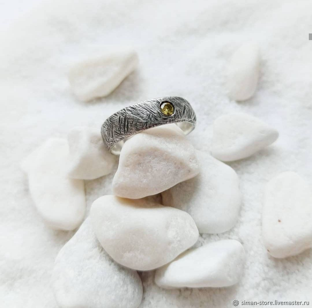 Silver ring with honey cubic Zirconia, Rings, St. Petersburg,  Фото №1