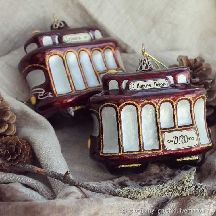 Елочная игрушка из папье-маше Трамвай, Елочные игрушки, Саров,  Фото №1