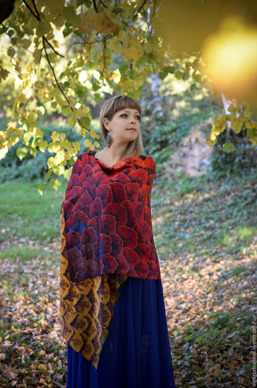 Batik silk stole 'Autumn Blues', Wraps, Yaroslavl,  Фото №1