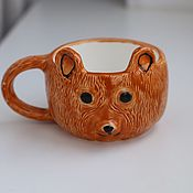 Кружки ручной работы. Ярмарка Мастеров - ручная работа Кружка мишка керамическая. Handmade.