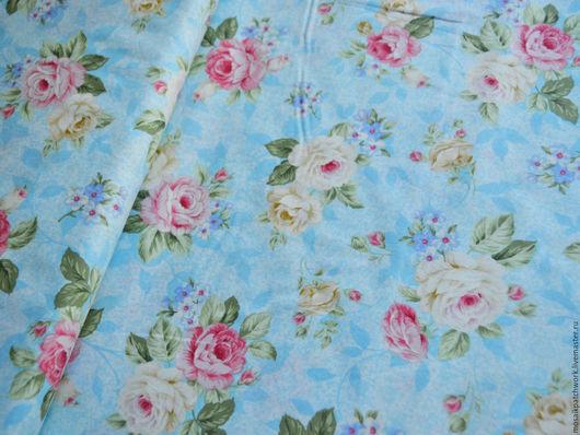 """Шитье ручной работы. Ярмарка Мастеров - ручная работа. Купить Хлопок. Ткань для шитья. Корея. """"Розы на голубом"""". Handmade. Комбинированный"""