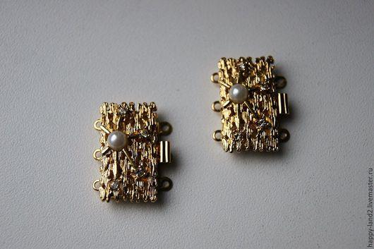 Для украшений ручной работы. Ярмарка Мастеров - ручная работа. Купить Замочек ювелирный с жемчужиной 3 нити, оба покрытия. Handmade.