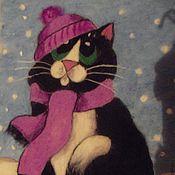 """Картины и панно ручной работы. Ярмарка Мастеров - ручная работа картина в технике валяние """"Грустный котик"""". Handmade."""