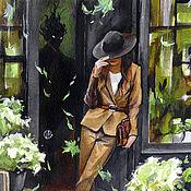 """Картины и панно ручной работы. Ярмарка Мастеров - ручная работа """"Девушка в бежевом костюме"""". Handmade."""