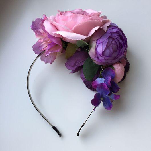 Диадемы, обручи ручной работы. Ярмарка Мастеров - ручная работа. Купить Сиренево-розовый ободок с цветами. Handmade. Ободок для волос