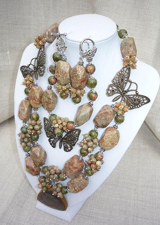 NECKLACE 'Dryad'+EARRING+BRACELET Jasper, unakite, BUTTERFLIES, Jewelry Sets, Taganrog,  Фото №1