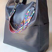 Сумки и аксессуары ручной работы. Ярмарка Мастеров - ручная работа Мягкий шоппер, сумка-мешок из натуральной кожи синий цвет. Handmade.