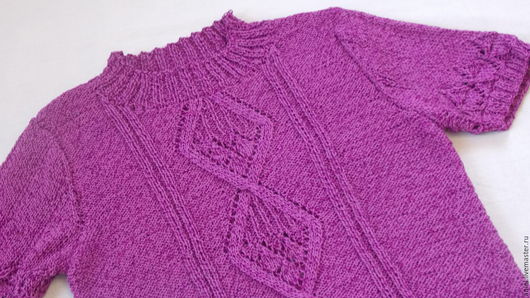 Летний пуловер спицами.  Джемпер ручной работы. Летние вещи на Ярмарке Мастеров.