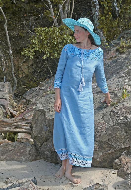 Льняное платье, летнее платье, романтика, бохо, льняная одежда в русском стиле, автор Юлия Льняная сказка