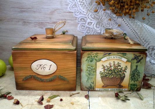 """Кухня ручной работы. Ярмарка Мастеров - ручная работа. Купить """" Ароматные травы Прованса """" - 2  кухонные коробочки. Handmade."""