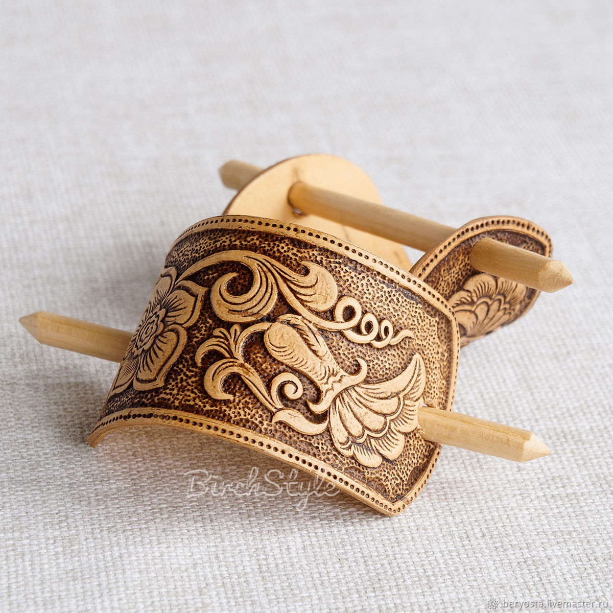 Barrette with stick 'Bud'. Wooden hair clip, Hairpins, Novosibirsk,  Фото №1