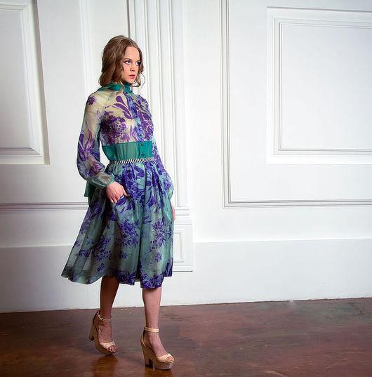 Платья ручной работы. Ярмарка Мастеров - ручная работа. Купить Шёлковое платье «Фиолетовые цветы». Handmade. Тёмно-зелёный, в полоску